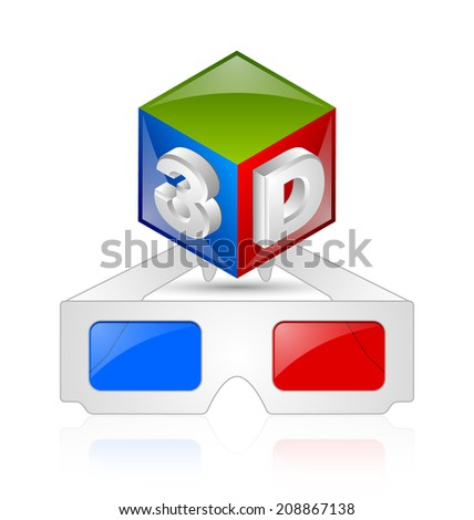 Anaglyphic 3D red blue glasses and cube on white background - stock vector