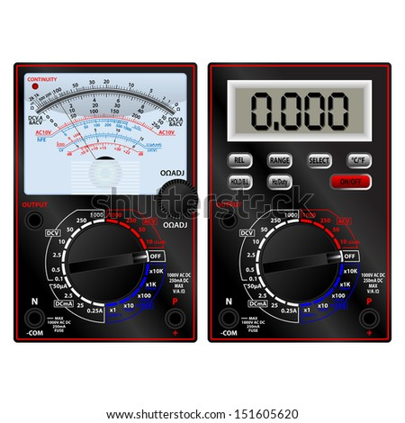 Analog and digital multimeter - stock vector