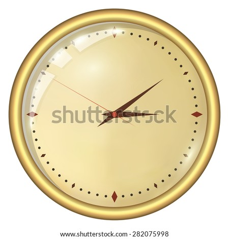 Analog Clock Isolated on a White Background. Vector Clock Without Numbers - stock vector