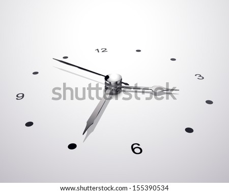 Analog clock with perspective isolated gray background - stock vector