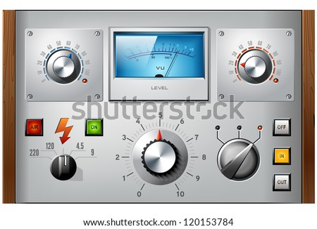 Analog controls interface elements set, vector, including VU meter, push buttons and switches. - stock vector
