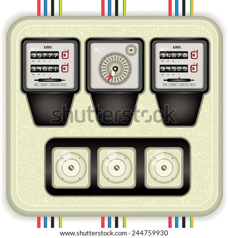 Analog electric meters with timer and fuses, detailed vector illustration - stock vector