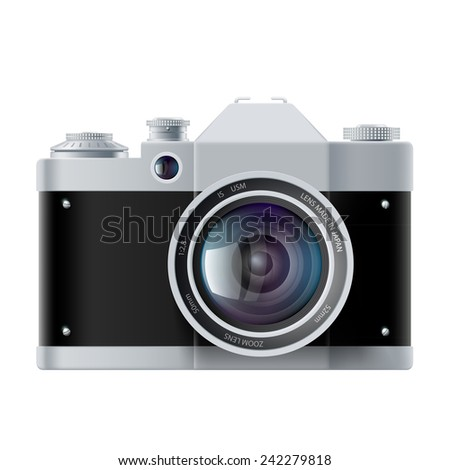 analog film camera isolated on white background - stock vector
