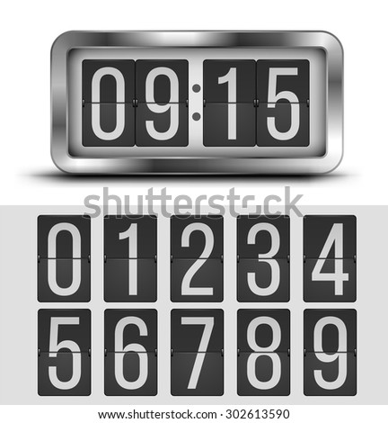 Analog flip clock silver retro design with numbers template, vector illustration - stock vector