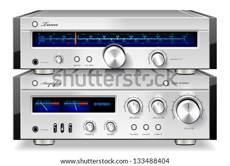 Analog Music Stereo Audio Amplifier and Tuner Vintage Rack Detailed Vector - stock vector
