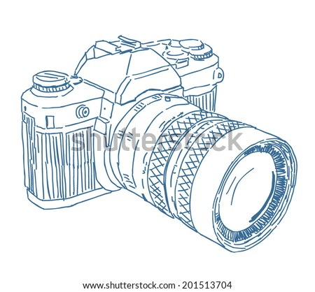 Analog photo camera sketch drawing isolated on white background - stock vector