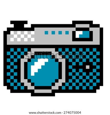 analog photo camera - vintage computer icon style   - stock vector