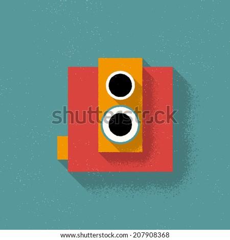 Analog Retro Film Camera - Vector Illustration - Flad Design - stock vector