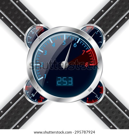 Analog rev counter with digital speedometer and abstract technology background - stock vector