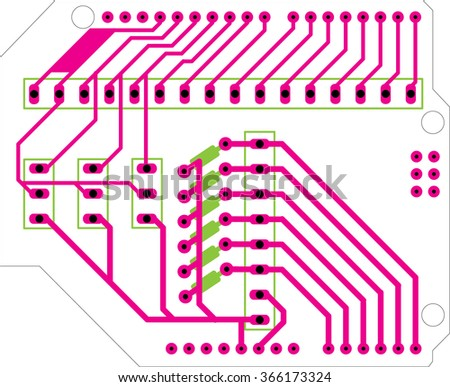 analog shield pcb  - stock vector
