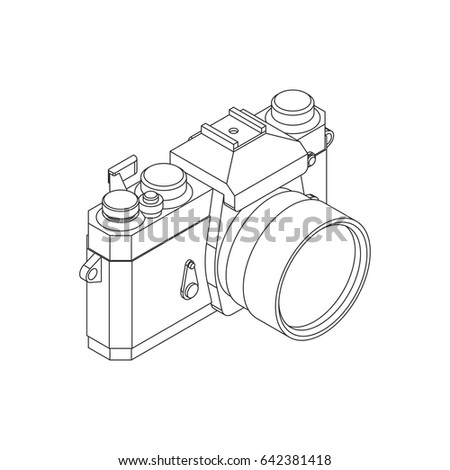 Analog SLR Camera Vector Illustration VOL.04 - Thin flat line style vector 3d isometric illustration for your web design or print