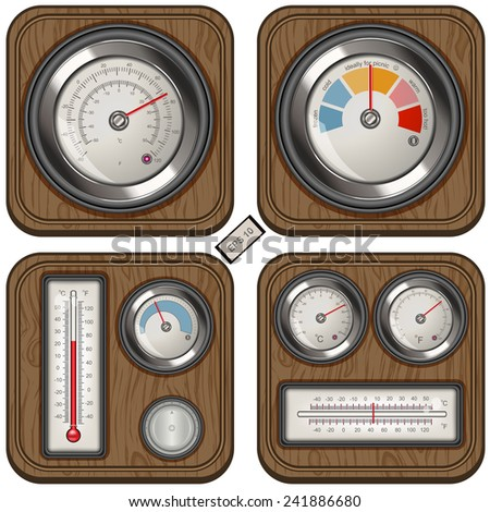Analog temperature meter icons on wood background - stock vector