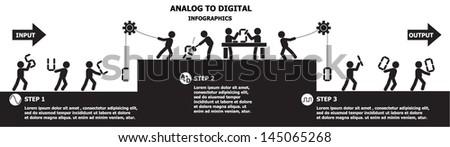 Analog to digital concept , vector design - stock vector