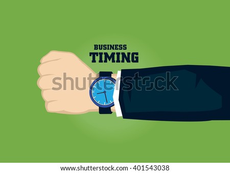 Analog watch on wrist of business person with text business and timing. Vector illustration on time concept for business isolated on green background. - stock vector