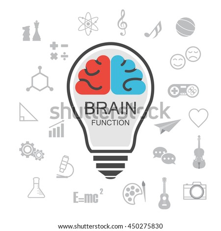 analysis and creative brain, isolated on white background - stock vector