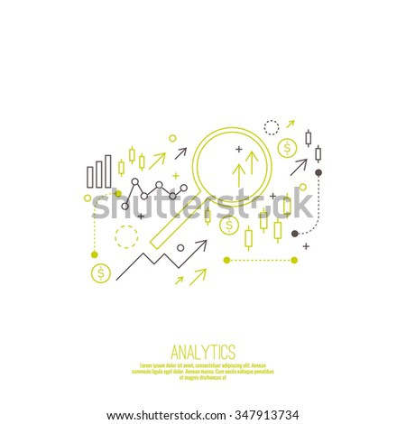 Analysis and Financial Management Report and Forecast. Stock market indicators and statistics data. Line art. - stock vector