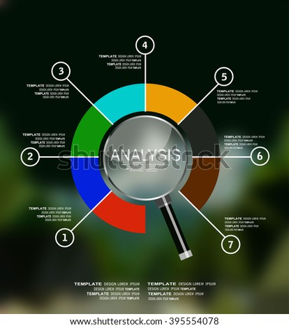 ANALYSIS. business infographics, statistics data, magnifying lens, financial analytics, business concept. - stock vector