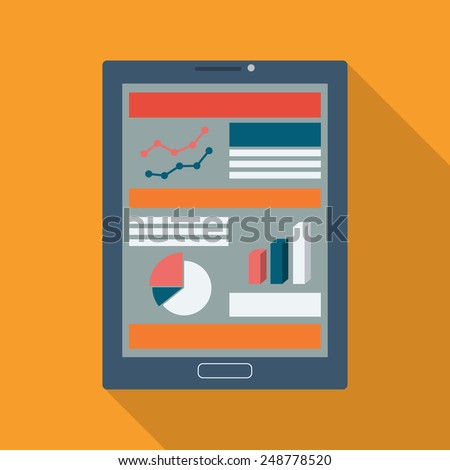 Analysis charts and graphs symbols on smart devices icons with responsive web design. Modern flat design long shadow suitable for presentations, websites, analysis reports. Eps10 vector illustration. - stock vector