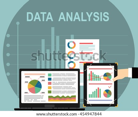 Analysis concept, flat design. Process research financial growth, statistics, data analysis, document, market, strategic, report. Development Planning. Vector - stock vector