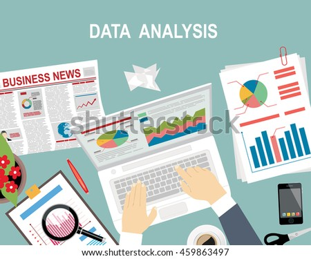 Analysis concept, flat design. Process research financial growth, statistics, data analysis, document, market, strategic, report. Development Planning. Flat design vector illustration