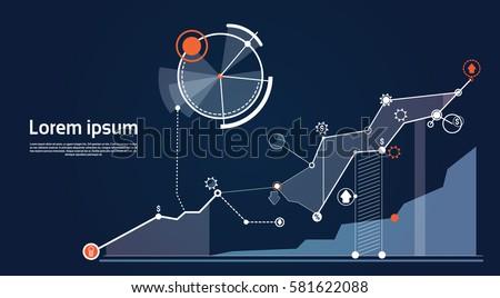 Analysis Finance Graph Financial Business Chart Flat Vector Illustration