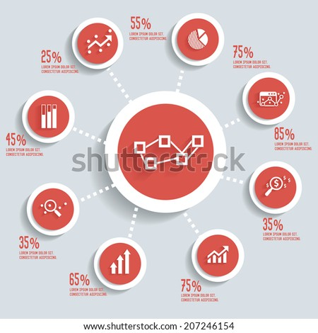 Analysis info graphic design concept red version,clean vector - stock vector