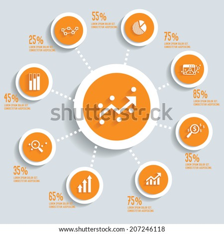 Analysis info graphic design concept yellow version,clean vector - stock vector