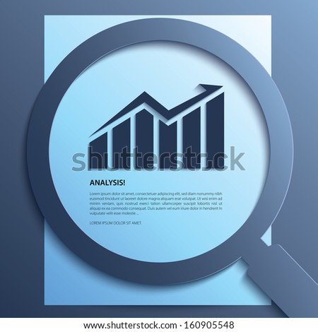 Analysis. Magnifying glass with graph-up on paper. Vector.