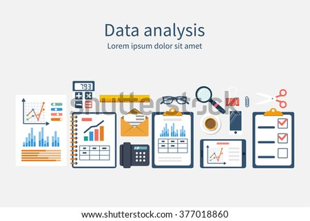 Analysis of concept in flat design. Process research financial growth, graph statistics, data analysis, business document,  market, strategic. Development. Set elements for business planning. Vector - stock vector