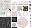 ANALYSIS. Word collage. GREAT COLLECTION. - stock photo