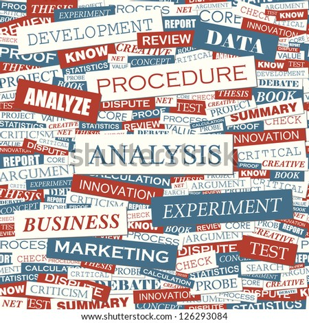 ANALYSIS. Word collage. Seamless illustration. - stock vector