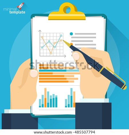 Analytic research and report on paper sheet  top view. Vector flat  design icon mock up.