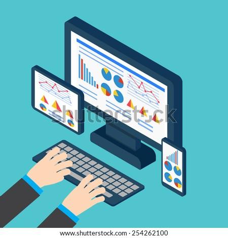 Analytics and programming vector. Web application optimization. Responsive pc - stock vector