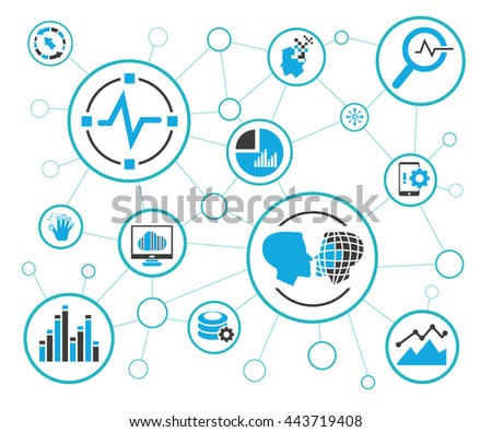 analytics data icons and network diagram on white background, information technology concept - stock vector