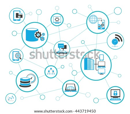 Analytics Data Icons Network Diagram On Stock Vector 443719450