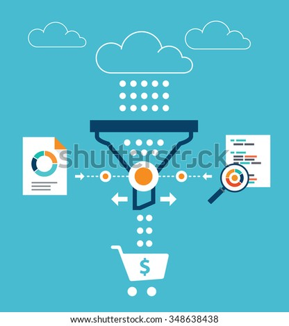 Analytics for sales funnel - stock vector