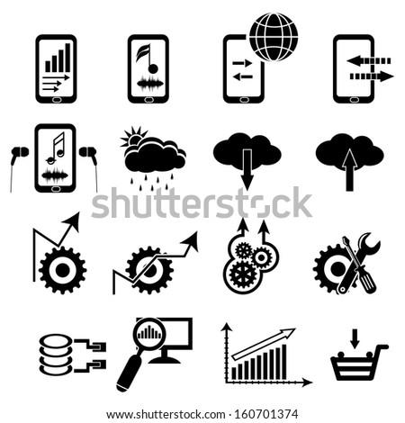analytics icon set, cloud computing icon set - stock vector