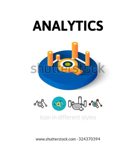 Analytics icon, vector symbol in flat, outline and isometric style - stock vector