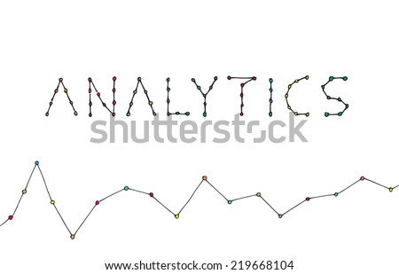 Analytics text in the style of a line graph. Hand drawn color vector sketch on white background. - stock vector