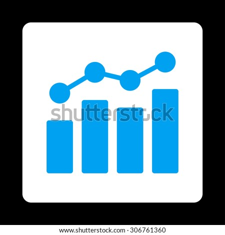 Analytics vector icon. This flat rounded square button uses blue and white colors and isolated on a black background. - stock vector