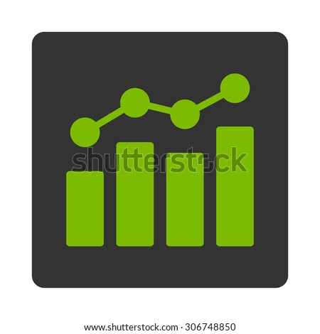 Analytics vector icon. This flat rounded square button uses eco green and gray colors and isolated on a white background. - stock vector