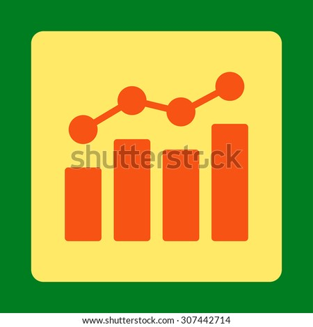 Analytics vector icon. This flat rounded square button uses orange and yellow colors and isolated on a green background. - stock vector
