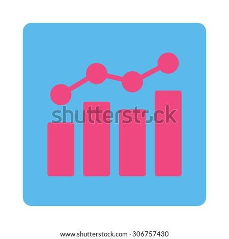 Analytics vector icon. This flat rounded square button uses pink and blue colors and isolated on a white background. - stock vector