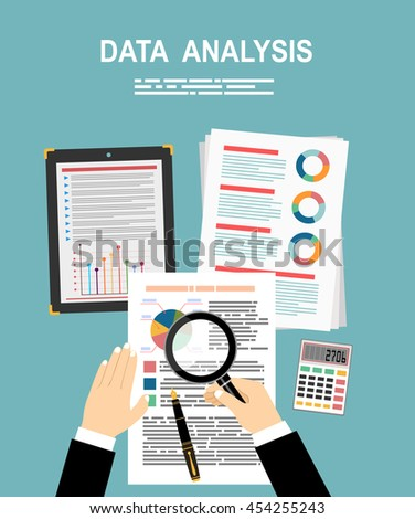 Analyzes Data Analysis Concept Flat Design Stock Vector 454255243
