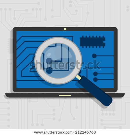 Analyzing the hardware and the electronic circuit of the laptop with a magnifying glass. Analyzing the hardware of the laptop - stock vector