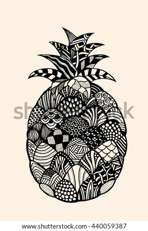 Ananas exotic fruit with abstract pattern. Vector illustration. Hand drawn Doodle artwork. Summer concept for party card, ticket, branding, logo, label. Black, beige color