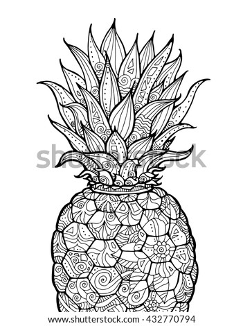 Ananas Pineapple Exotic Fruit With Floral Pattern Vector Coloring Book Page