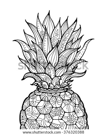 Ananas Pineapple Exotic Fruit With Floral Pattern Vector Coloring Book Page For