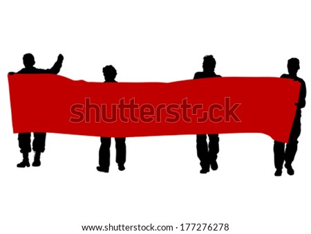 Anarchists people with large banner - stock vector