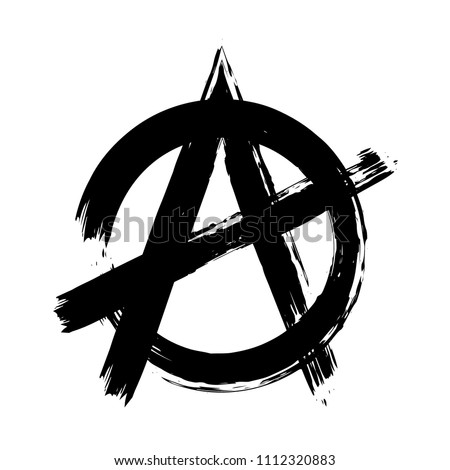 Anarchy Brush Symbol Anarchy Grunge Style Stock Vector 1112320883
